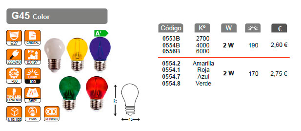 serie filamento de colores g45