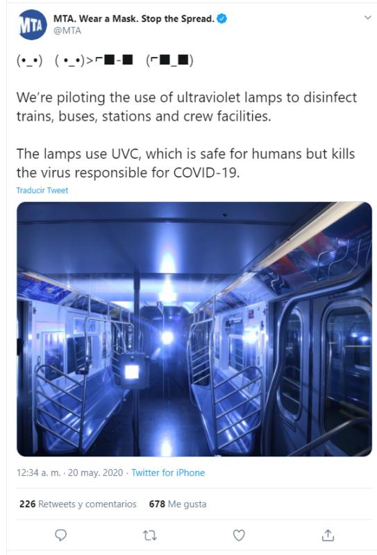 Metro de Nueva York, luz ultravioleta UVC para desactivar el virus covid-19